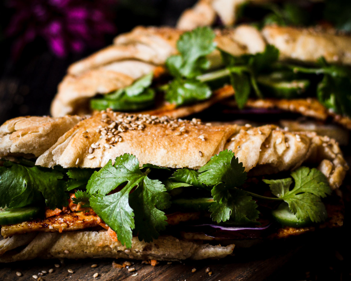 picture of vegan bahn mi sandwich