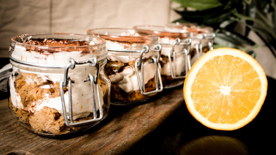 picture of vegan orange tiramisu trifles