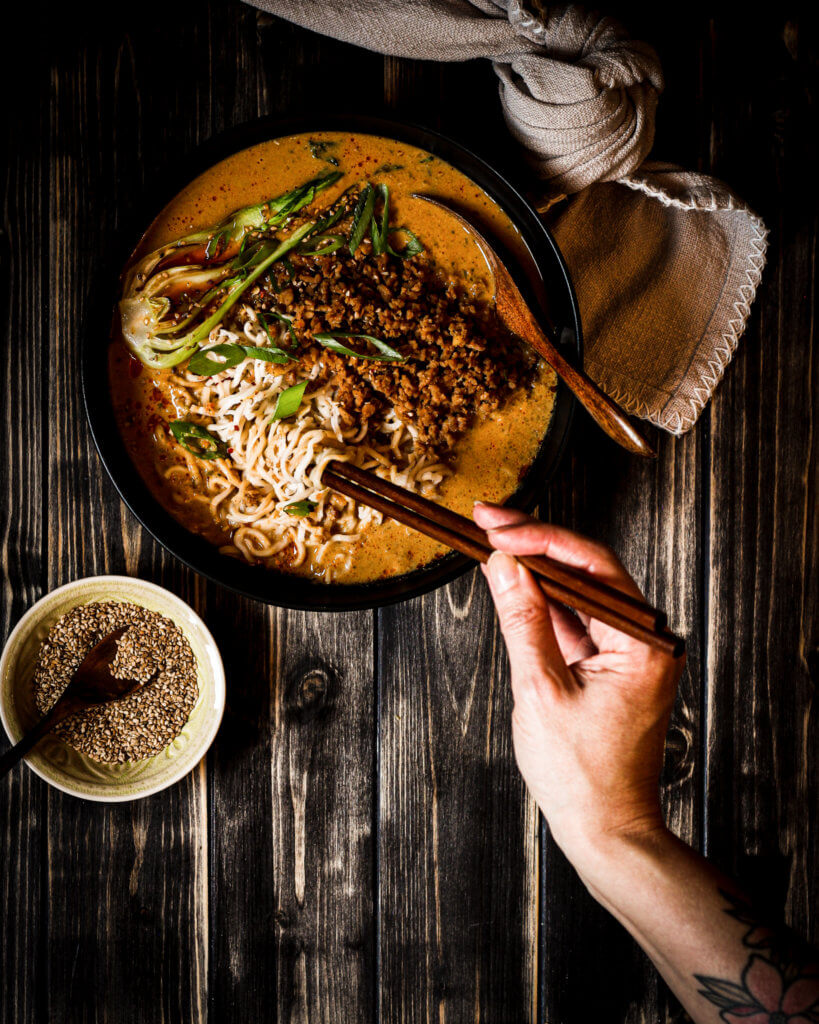 picture of vegan Japanese tantan soup