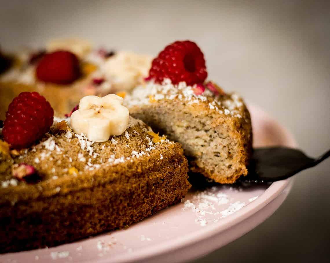 veganer Bananen-Himbeer-Kuchen