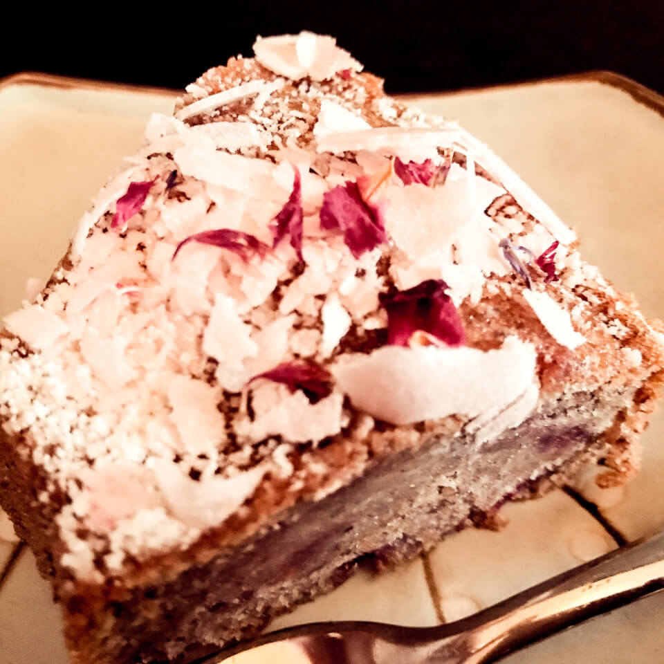 PICTURE OF VEGAN BANANA RASPBERRY CAK