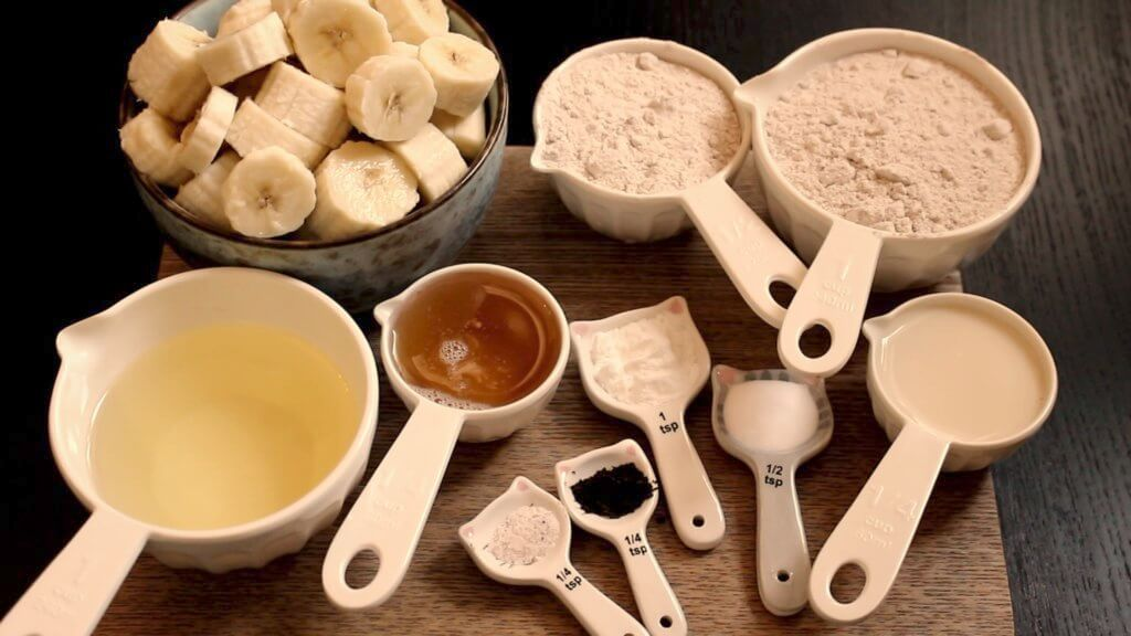 Ingredients for vegan banana-raspberry cake with white chocolate