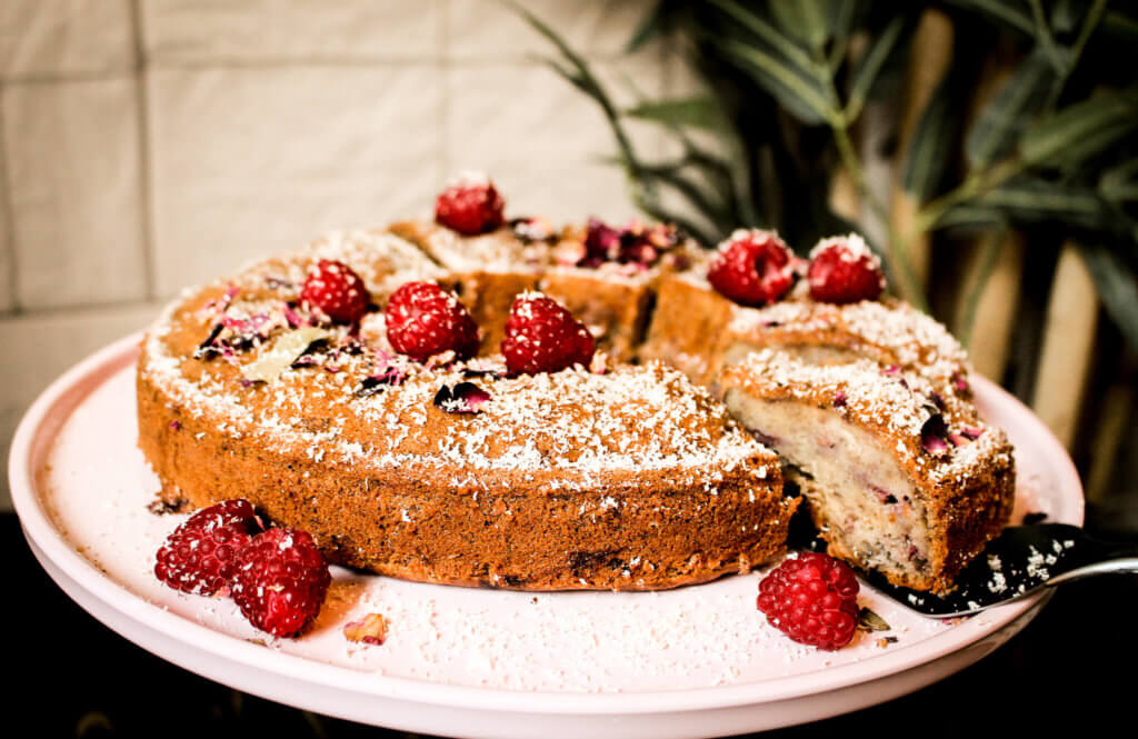 picture of vegan banana raspberry cake