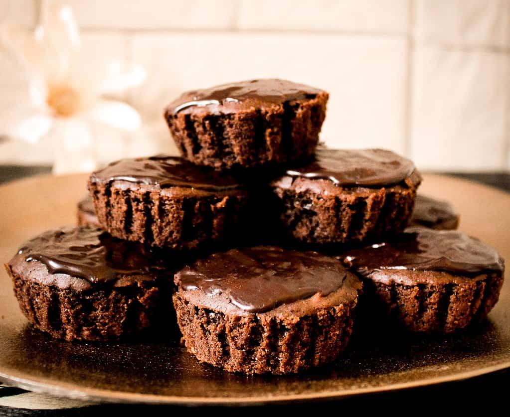picture of vegan death by chocolate & Irish cream muffins