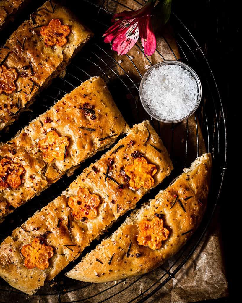 vegan sweet potato focaccia with sea salt