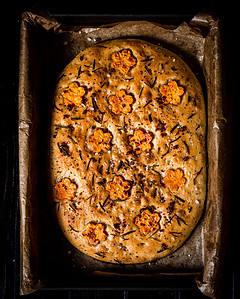 vegan focaccia after baking