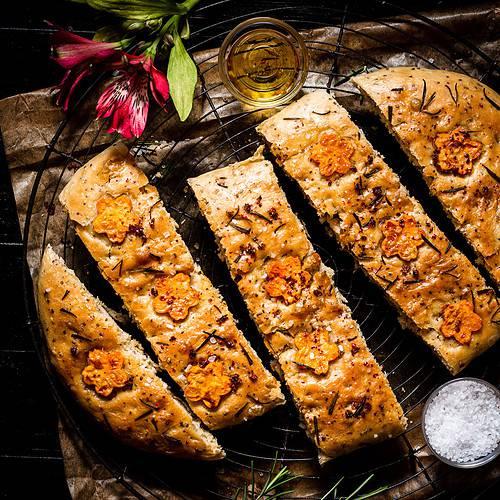 vegan sweet potato focaccia cut in pieces