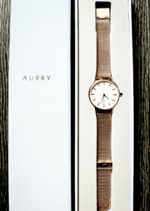PIC OF AUBRY WATCH IN BOX