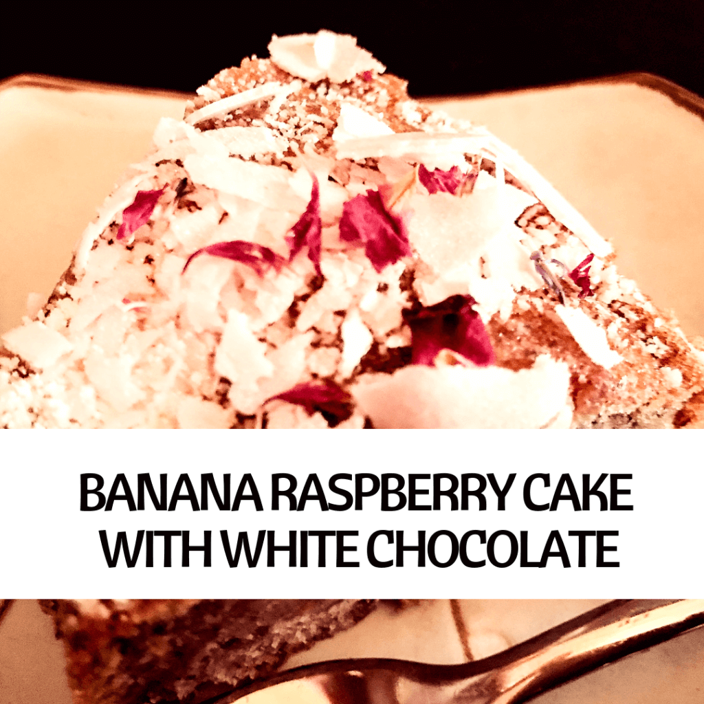PICTURE OF VEGAN BANANA RASPBERRY CAKE WITH WHITE CHOCOLATE