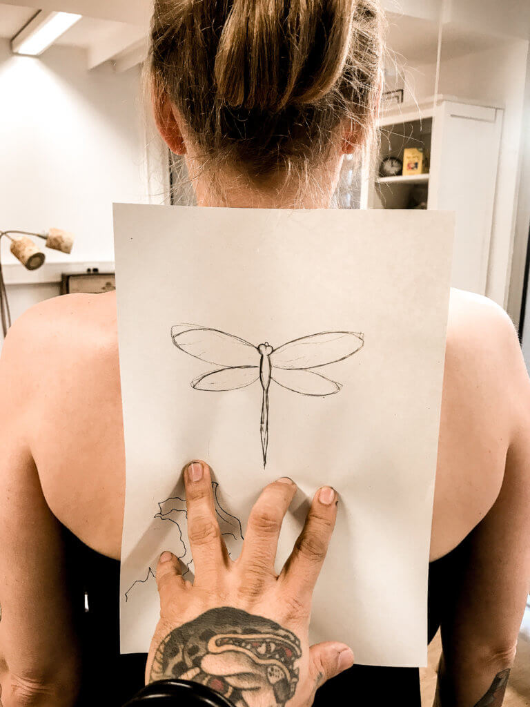 picture of vegan dragonfly tattoo in progress