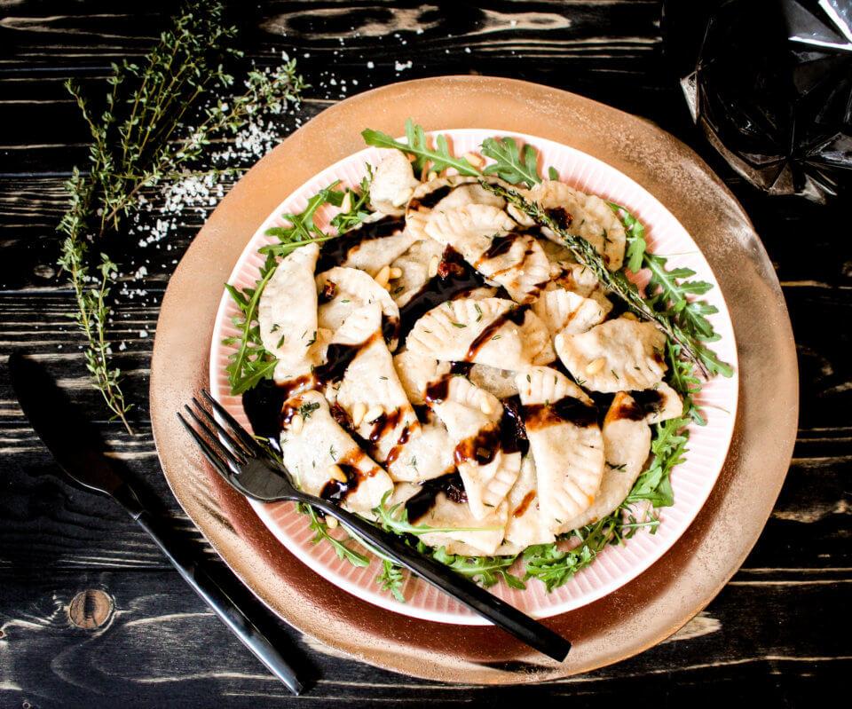 Bild von veganen Butternut Champignon Ravioli