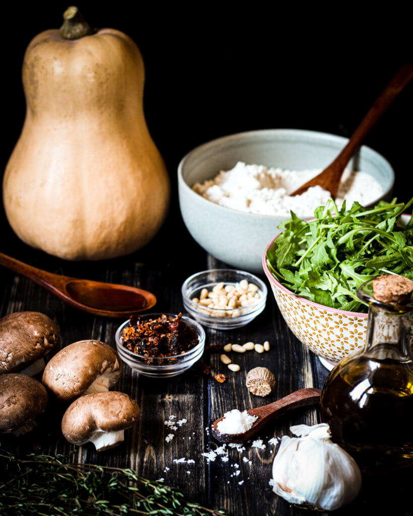 Zutaten für die Butternut-Champignon-Ravioli