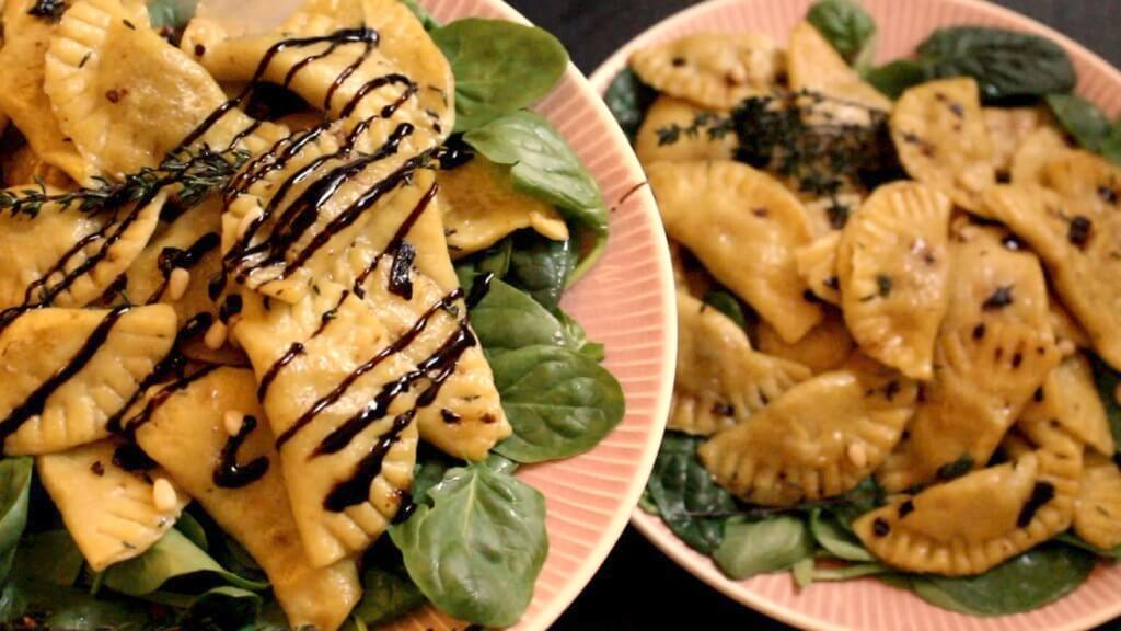 Picture of vegan butternut mushroom ravioli