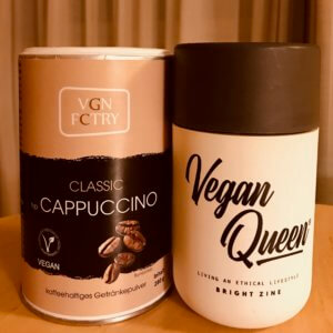 picture of vegan cappuccino and tumbler