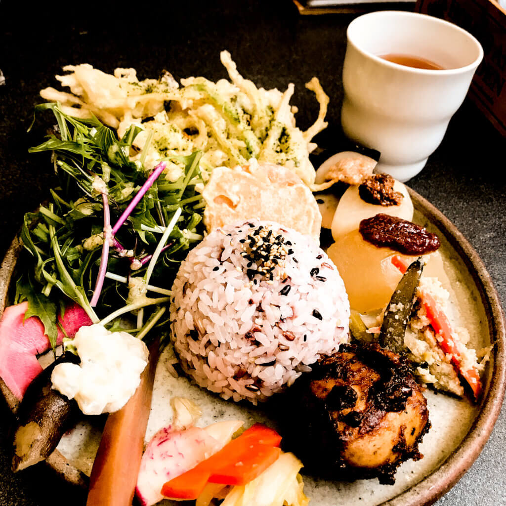 Japanese veggie platter on vegan food tour