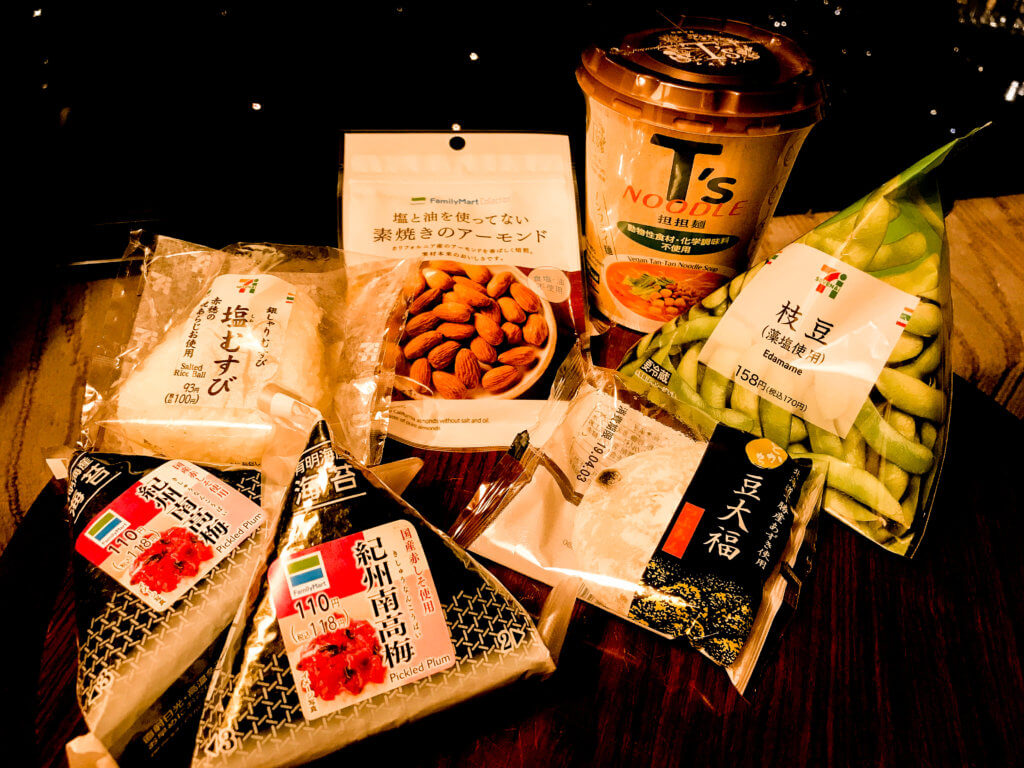 picture of vegan food from convenience stores in Tokyo