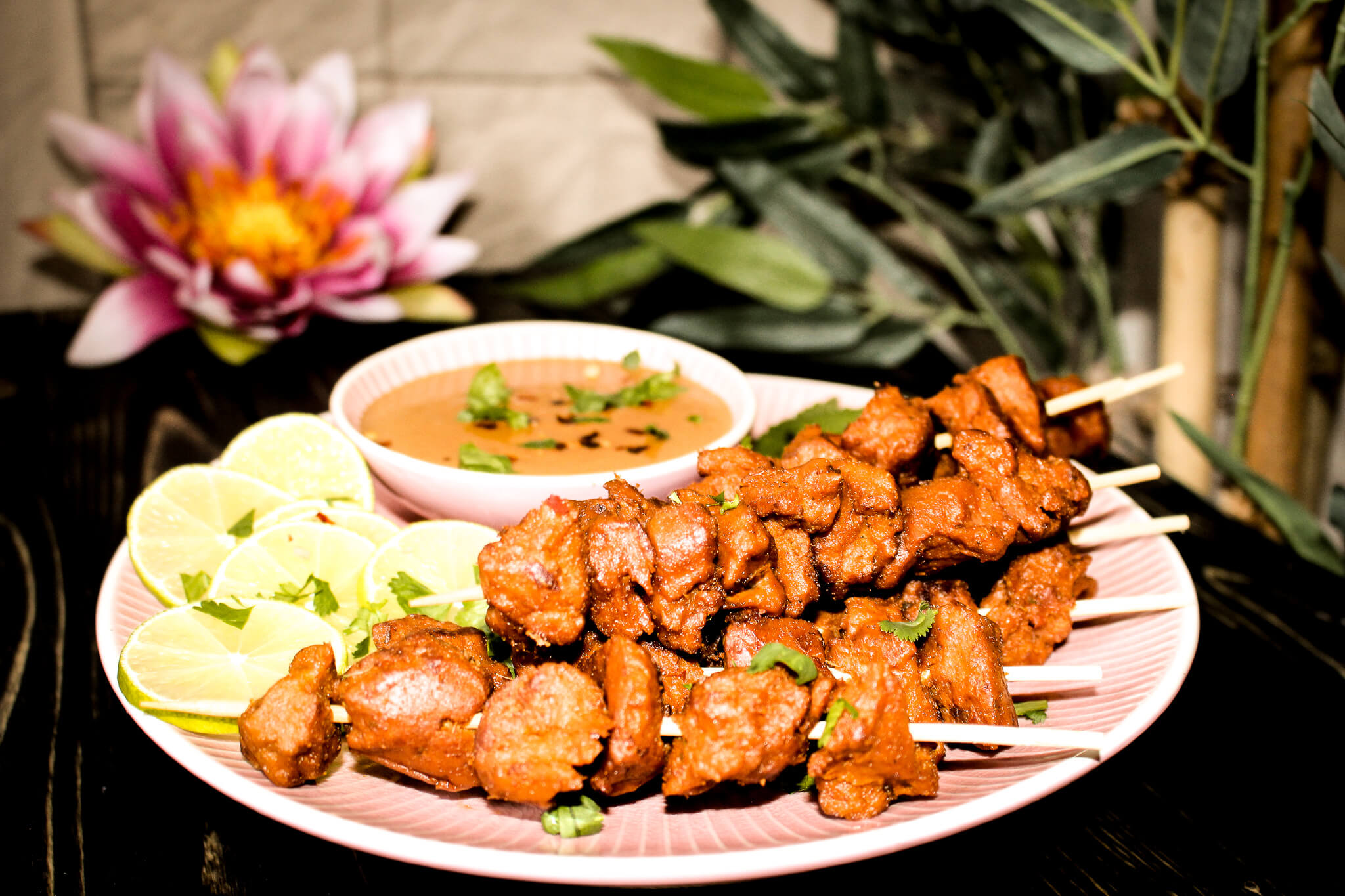 picture of vegan seitan satay