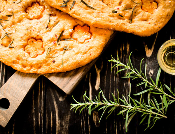 PINK PEPPER AND PICTURE OF SWEET POTATO FOCACCIA