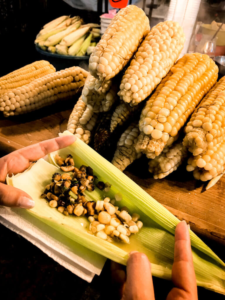 corn dish at vegan food tour