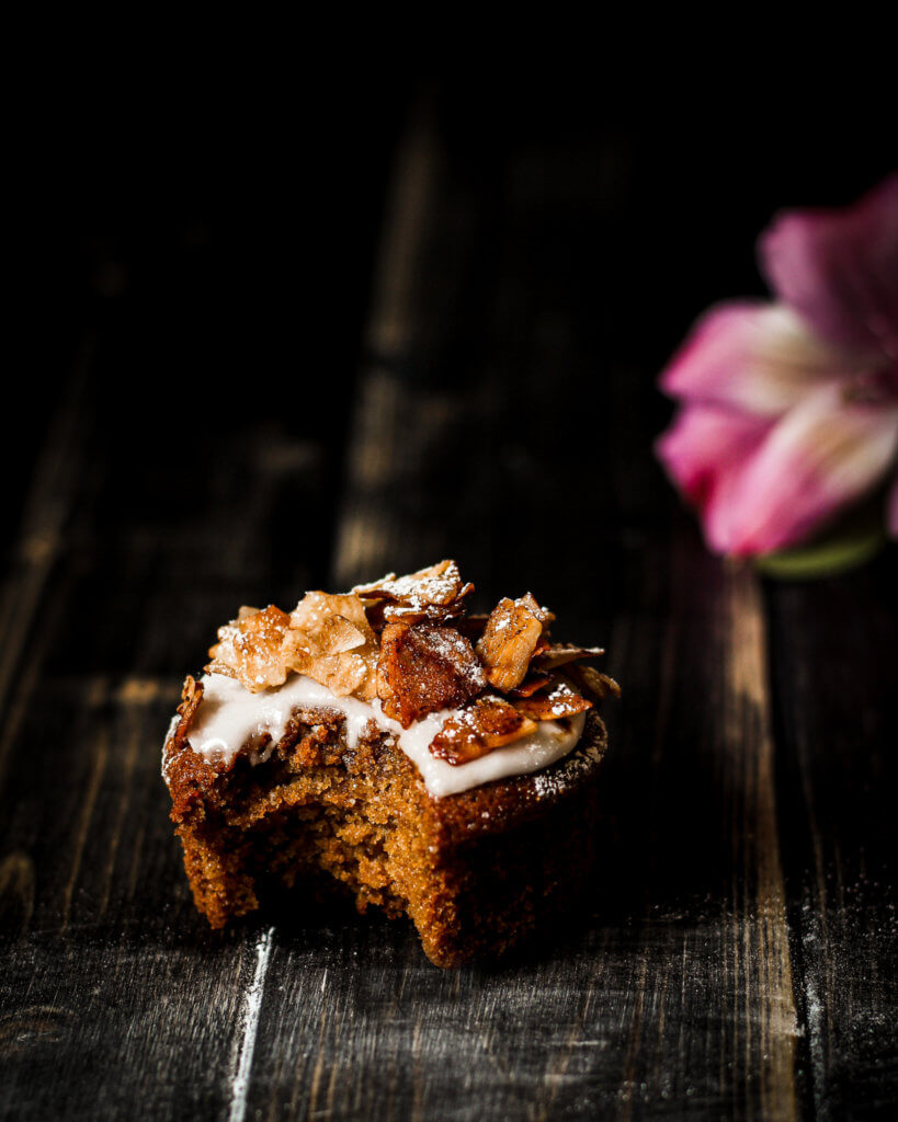 PICTURE OF VEGAN COCONUT MAPLE BACON MUFFIN FOOD PHOTOGRAPHY