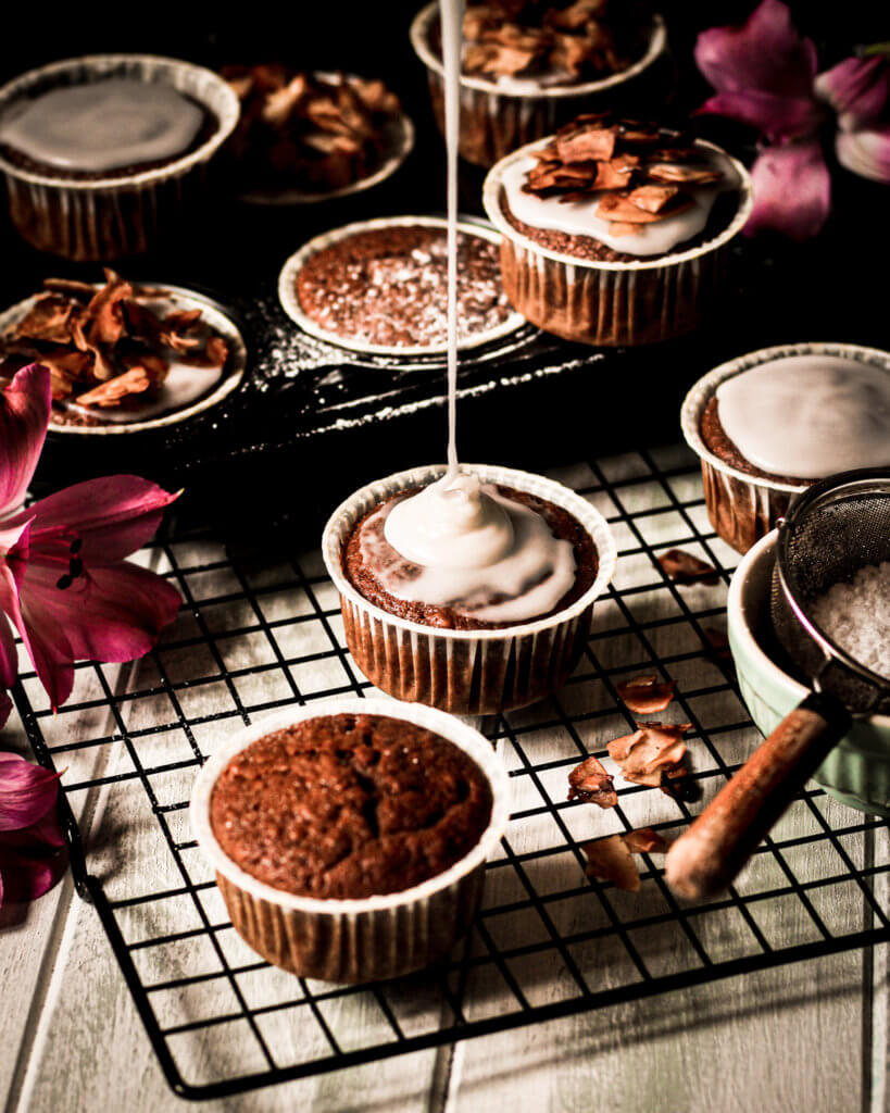Coconut Maple Bacon Muffins pour shot