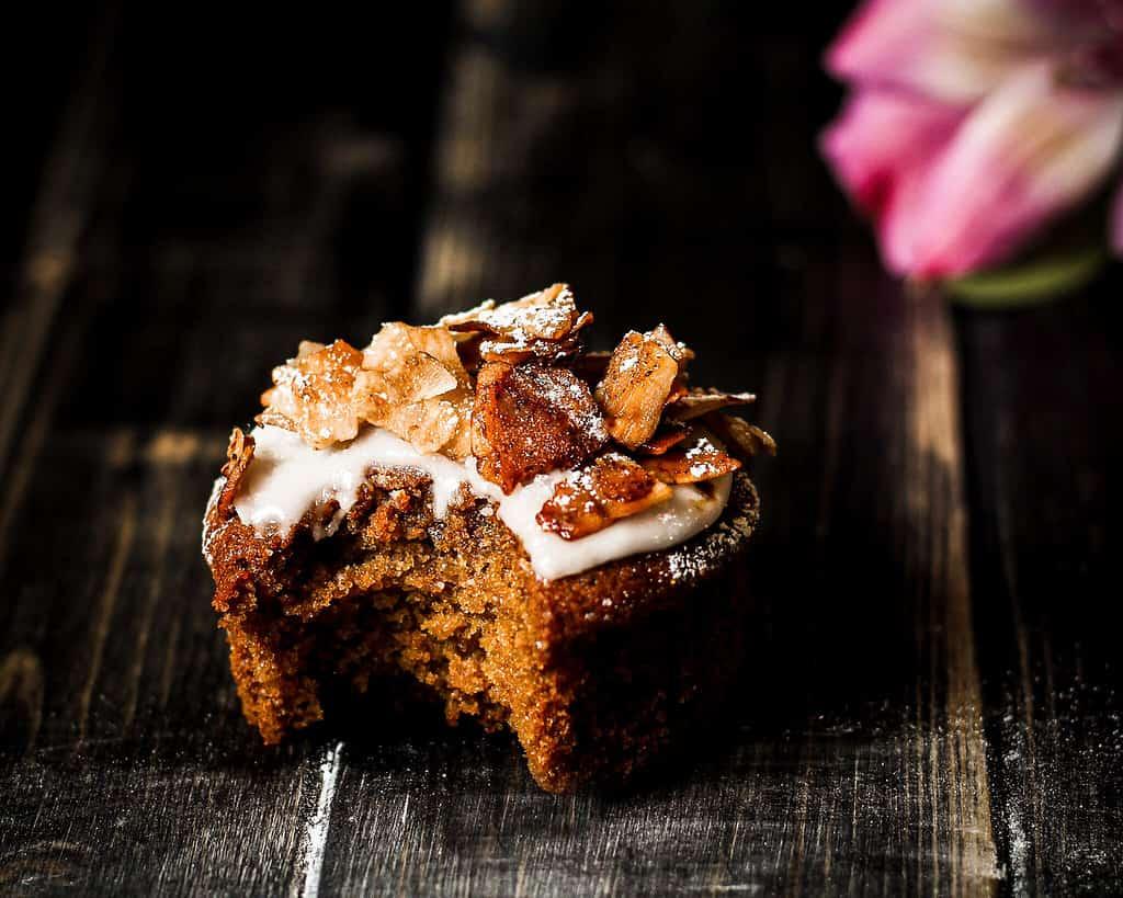 picuture of vegan coconut maple bacon muffins