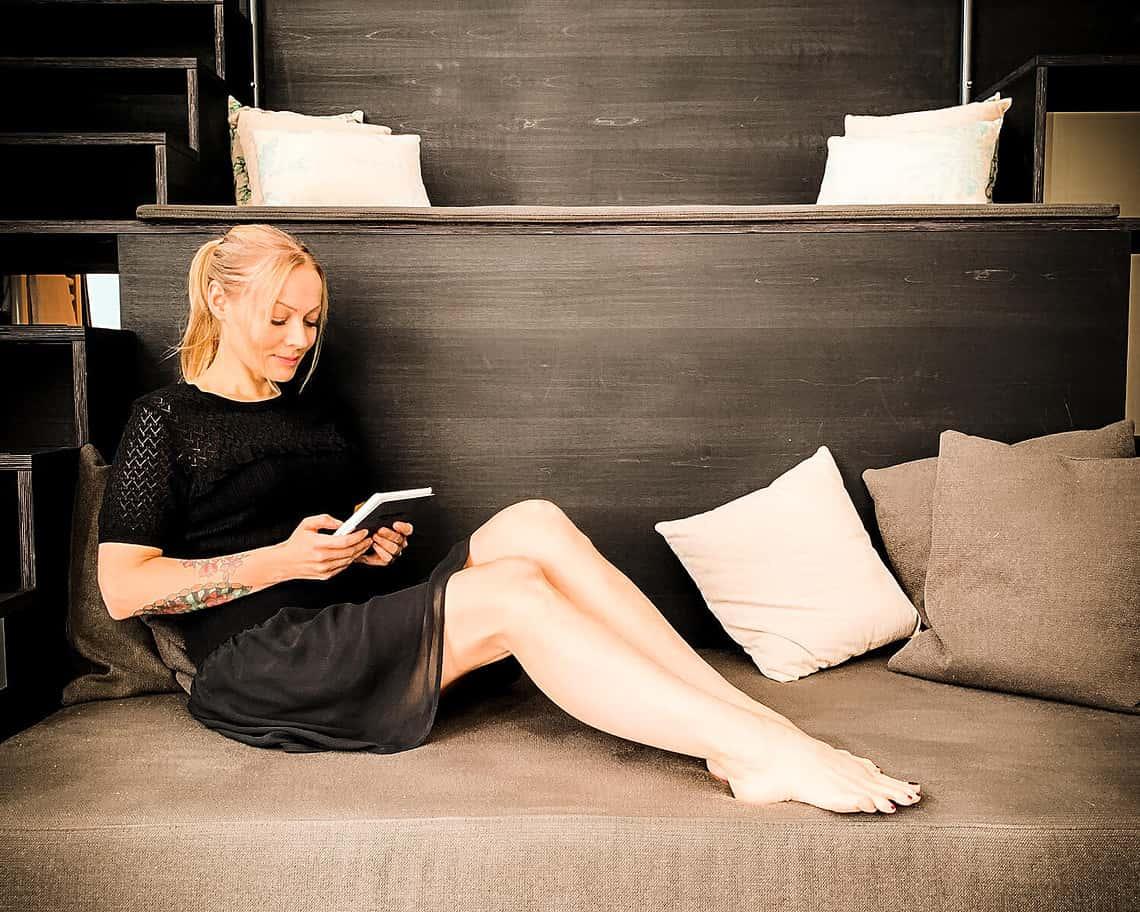 Me reading at almodovar hotel berlin