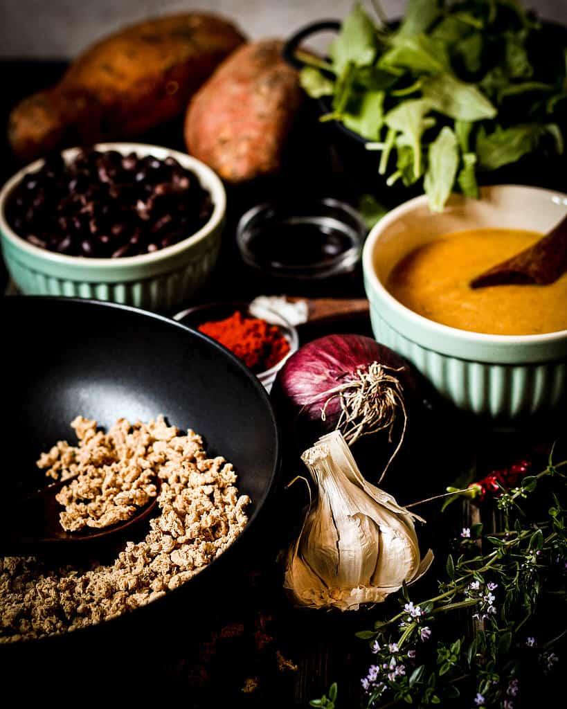 Zutaten für die Süßkartoffelpfanne