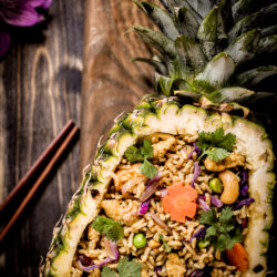 picture of pineapple with pineapple rice/ Nina Bolders Food Photography