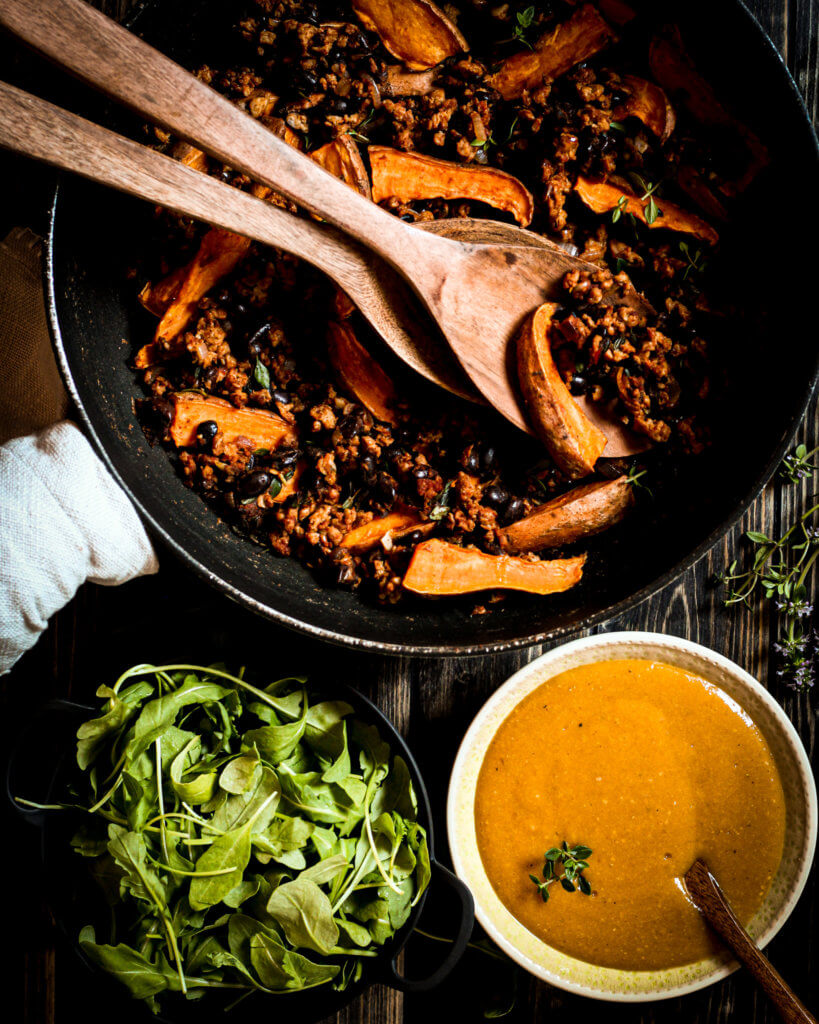 picture of vegan sweet potato skillet with apricot mustard sauce