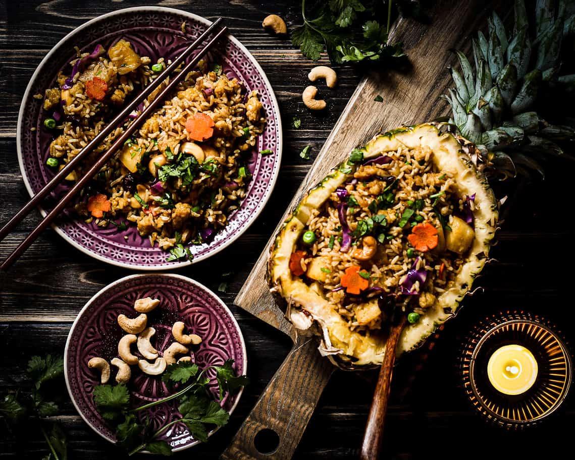 pineapple rice with vegan egg
