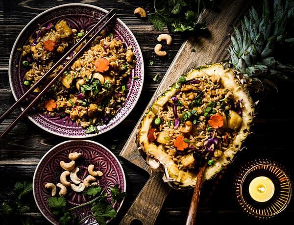 Ananasreis mit veganem Ei