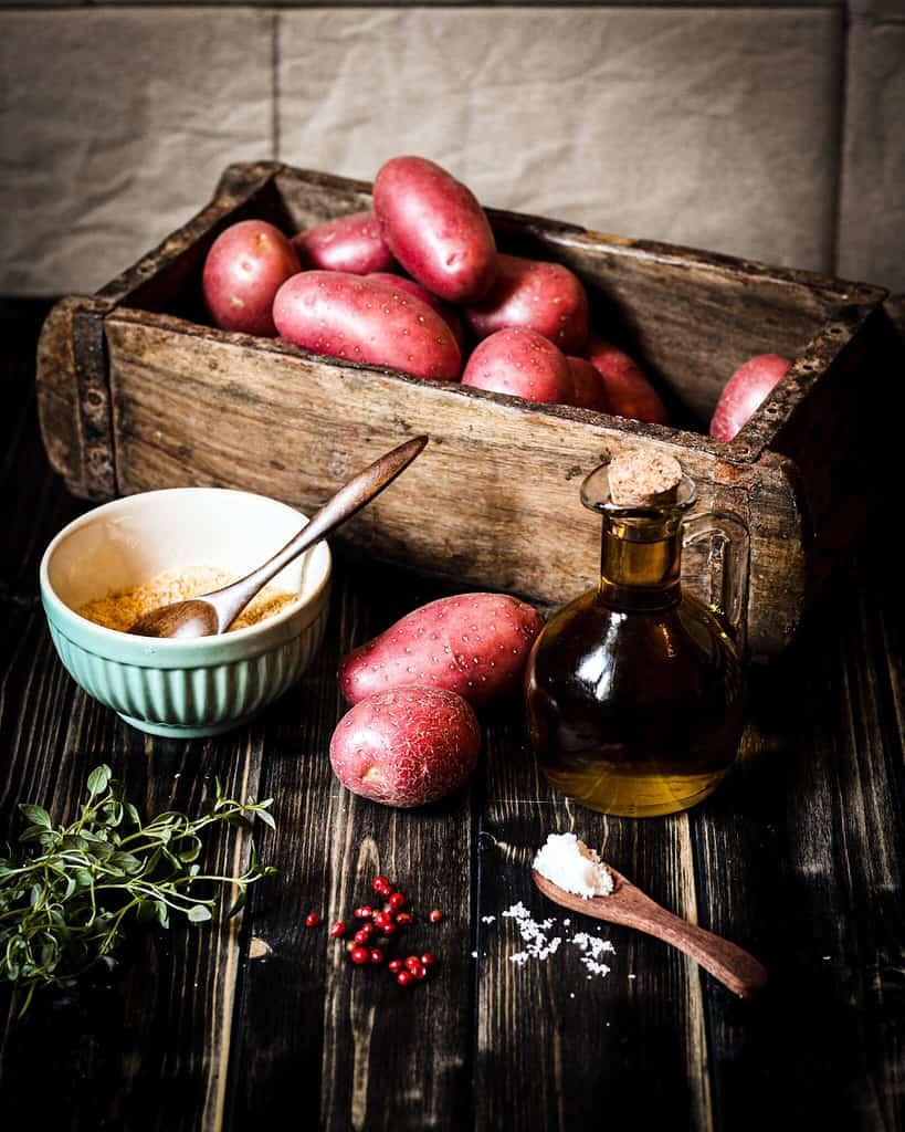 Zutaten für pinke Quetschkartoffeln