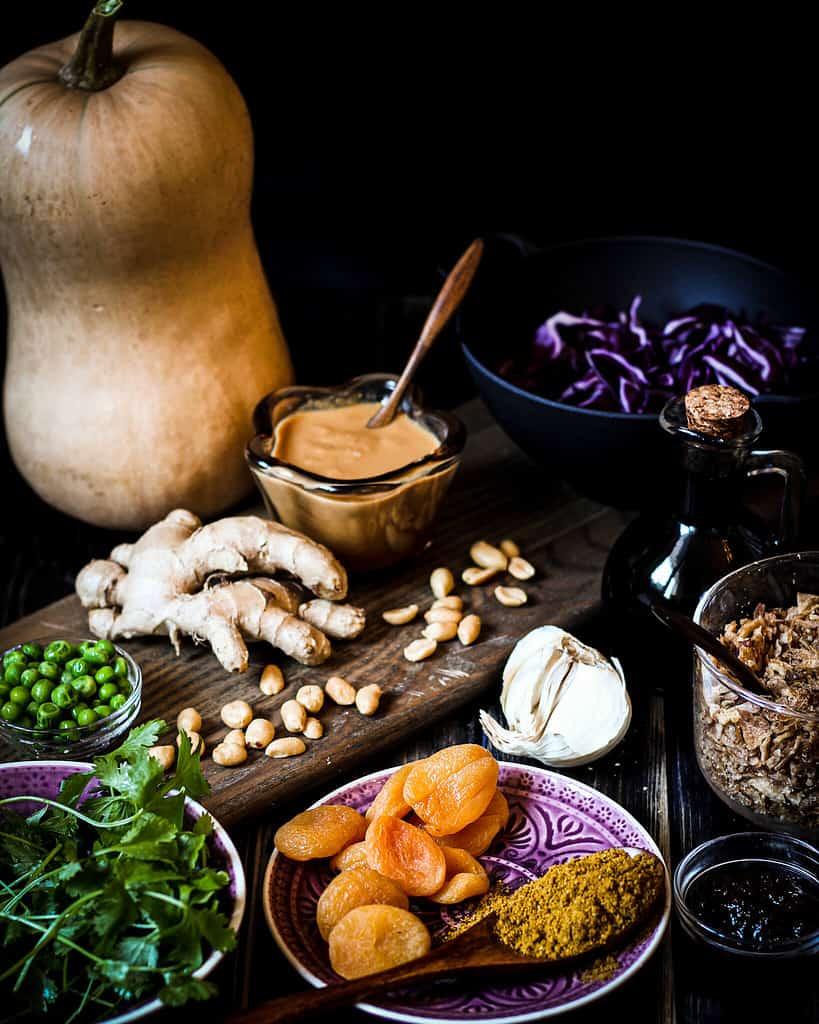 Zutaten für das Butternut-Aprikosen-Curry