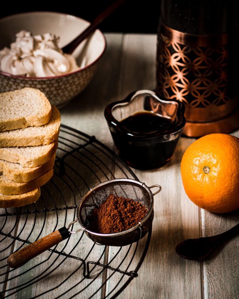 picture of vegan orange tiramisu trifles ingredients