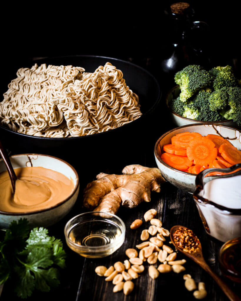 ingredients for noodles with peanut sauce