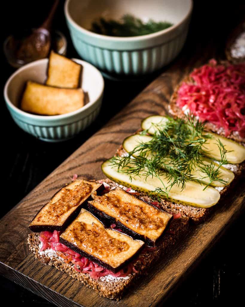making the sauerkraut sandwich