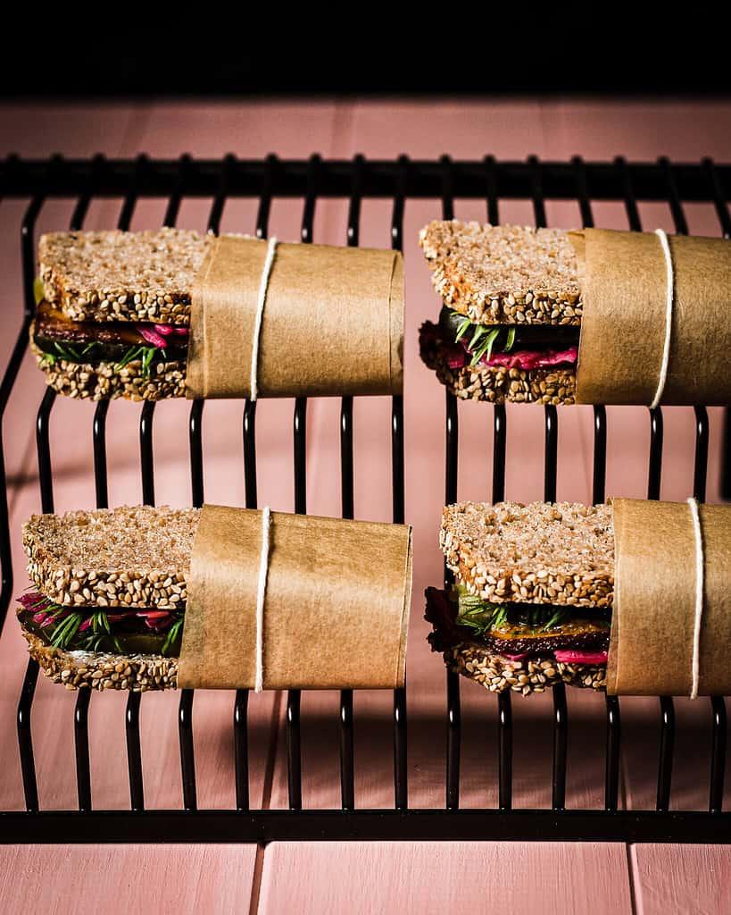 picture of vegan sauerkraut sandwiches inspired by wayne thiebaud