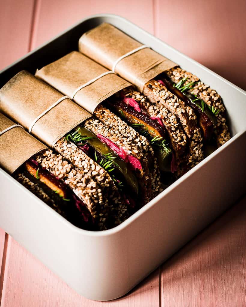 vegane Sauerkraut Sandwiches in der Lunchbox