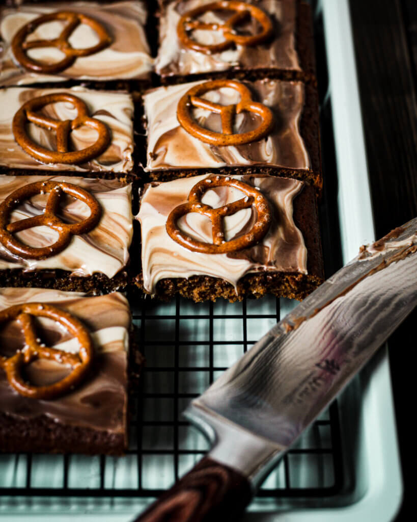 vegan duo pretzel bars cut