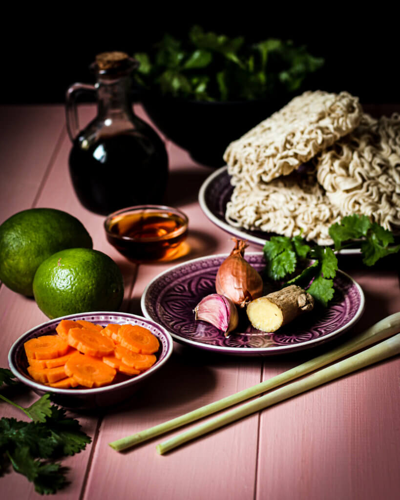 ingredients for the lemongrass noodles