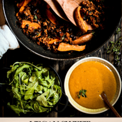 This vegan sweet potato skillet is the perfect fall food with crispy aromatic sweet potatoes, fresh rocket salad and hearty veggie mince with nourishing black beans.