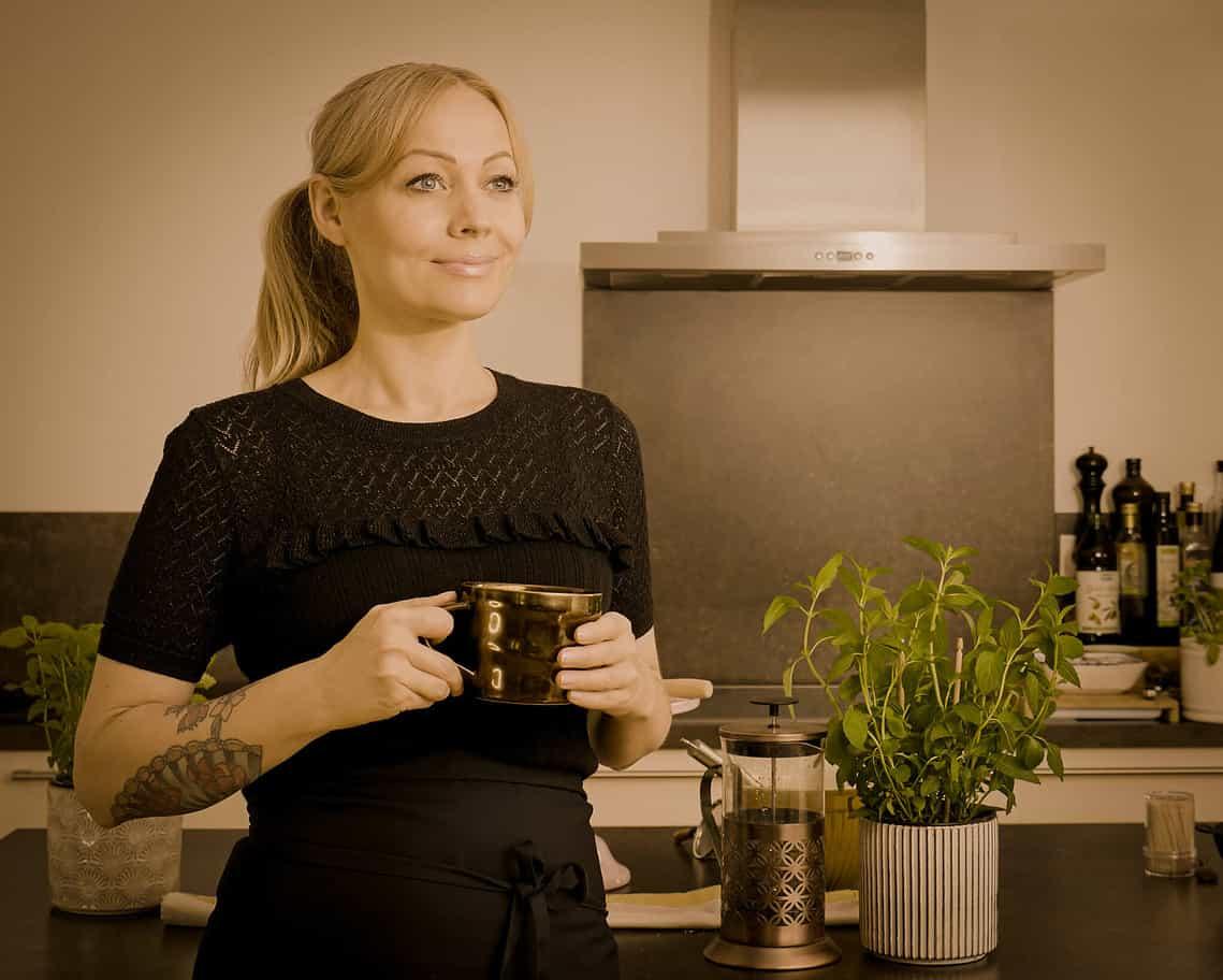 Nina with coffee