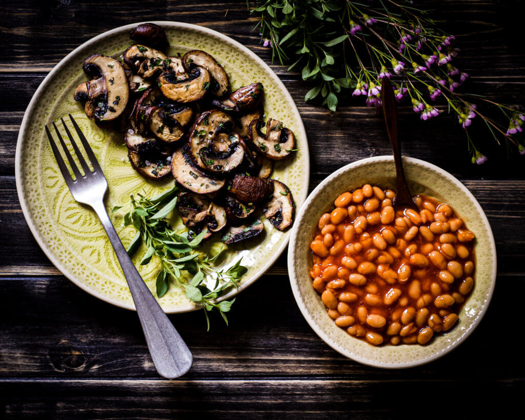 Pilze und baked beans