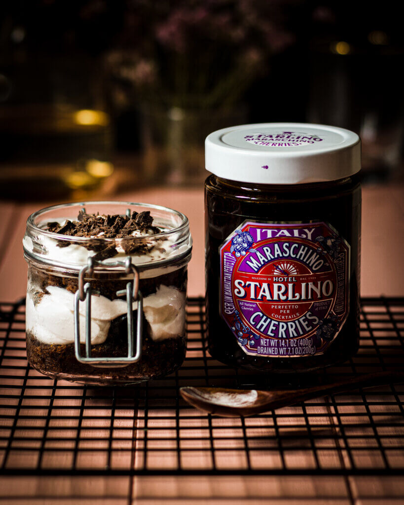 black forest trifles with hotel starlino maraschino cherries